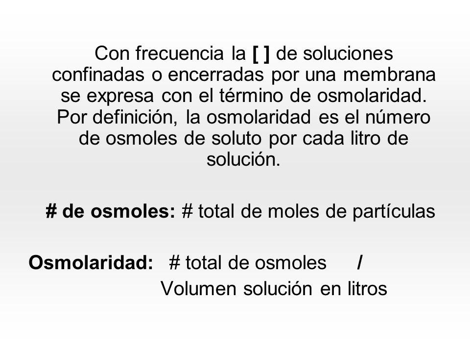 Con frecuencia la [ ] de soluciones confinadas o encerradas por una membrana se expresa con el término de osmolaridad.